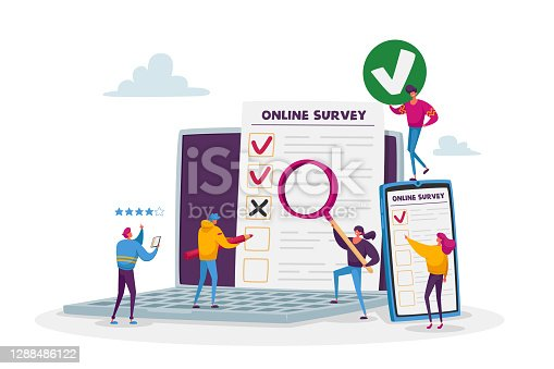 istock Online Survey Concept. Tiny Male and Female Characters Filling Digital Form on Huge Laptop and Smartphone Application 1288486122