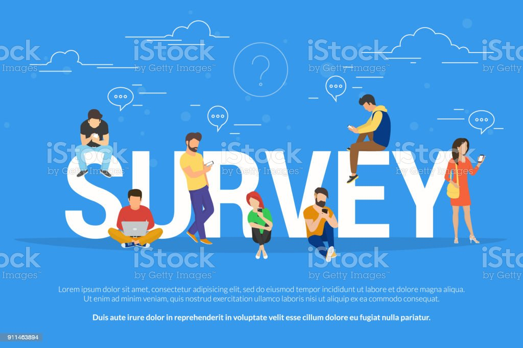 Online survey concept vector illustration of people fulfilling checklist vector art illustration