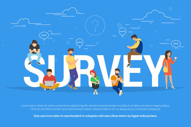 Online survey concept vector illustration of people fulfilling checklist Online survey concept vector illustration of people using laptop and smartphone mobile app for fulfilling checklist or leaving a feedback for online service. Flat guys and young women near big letters survey stock illustrations