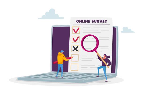 ilustrações de stock, clip art, desenhos animados e ícones de online survey, customer feedback, service rate, voting concept. tiny male and female characters filling digital form - democracy illustration