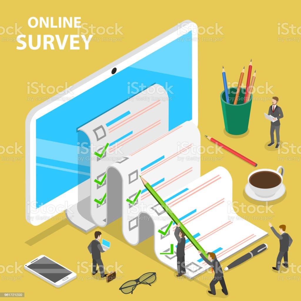 Online-Umfrage flache isometrische Vektor-Konzept. – Vektorgrafik