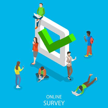 Online survey flat isometric vector concept