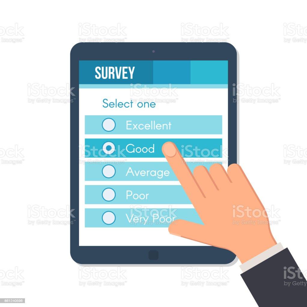 Online survey form vector art illustration