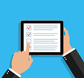 istock Online survey in tablet. Checklist in form of app. Feedback and questionnaire in mobile phone. Icon of check with tick. Question and choice of opinion in checkbox. Customer service on screen. Vector 1268266178
