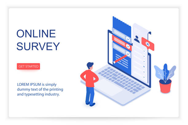 Online survey isometric landing page vector template vector art illustration