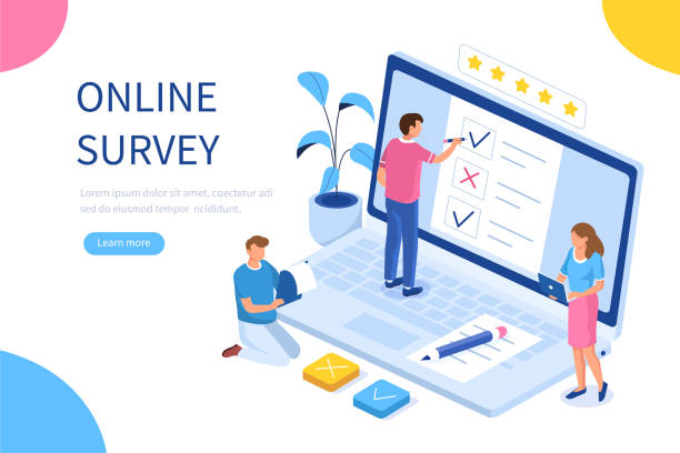 online survey Online survey concept with characters. Can use for web banner, infographics, hero images. Flat isometric vector illustration isolated on white background. survey stock illustrations