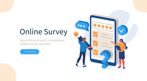 online survey People Characters Filling Test Online in Customer Survey Form. Woman and Man putting Check Mark on Checklist. Customer Experiences and Satisfaction Concept. Flat Isometric Vector Illustration. survey stock illustrations