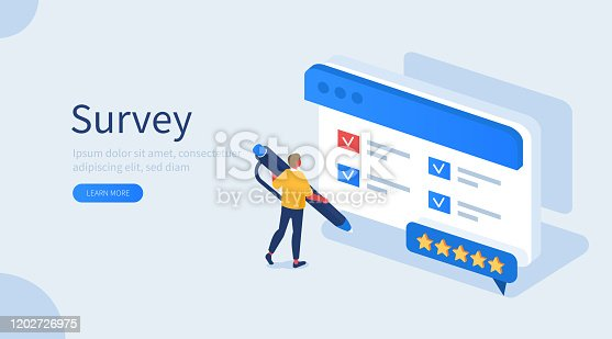 People Character Filling Test Online in Customer Survey Form. Man putting Check Mark on Checklist. Customer Experiences and Satisfaction Concept. Flat Isometric Vector Illustration.