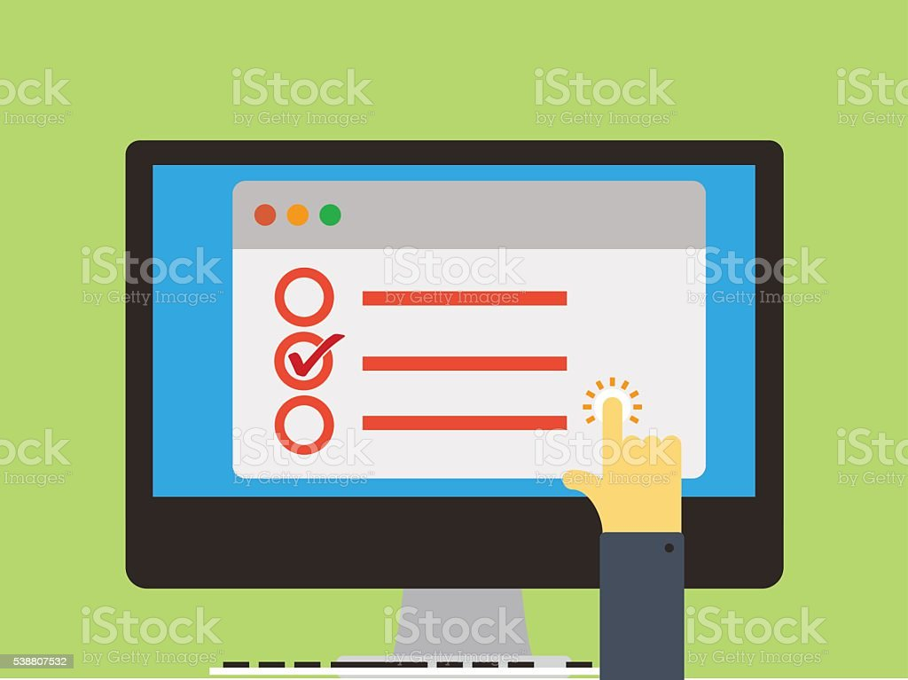 online survey vector art illustration
