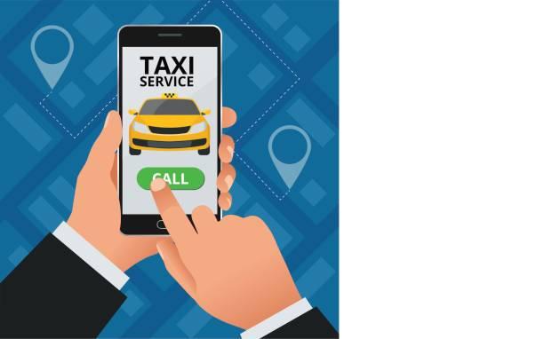 Concept De Taxi Service En Ligne Lhomme Commande Un Son