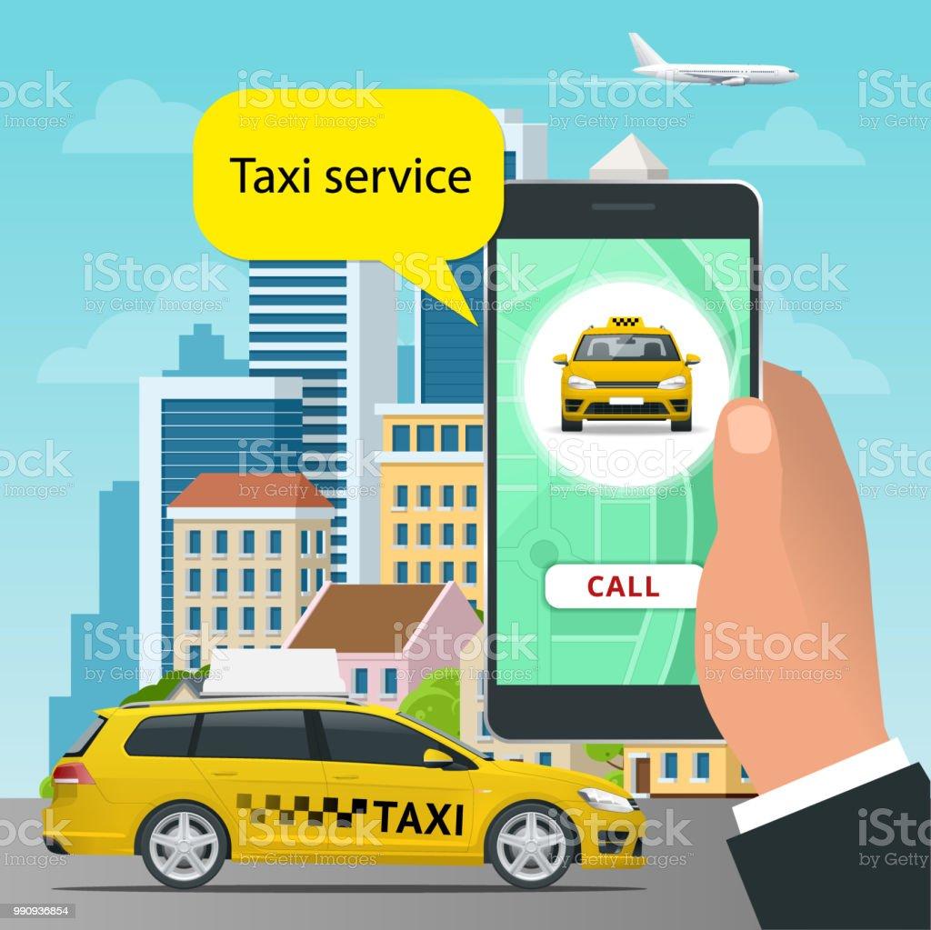 Onlinetaxiservicekonzept Man Bestellt Ein Taxi Von Seinem