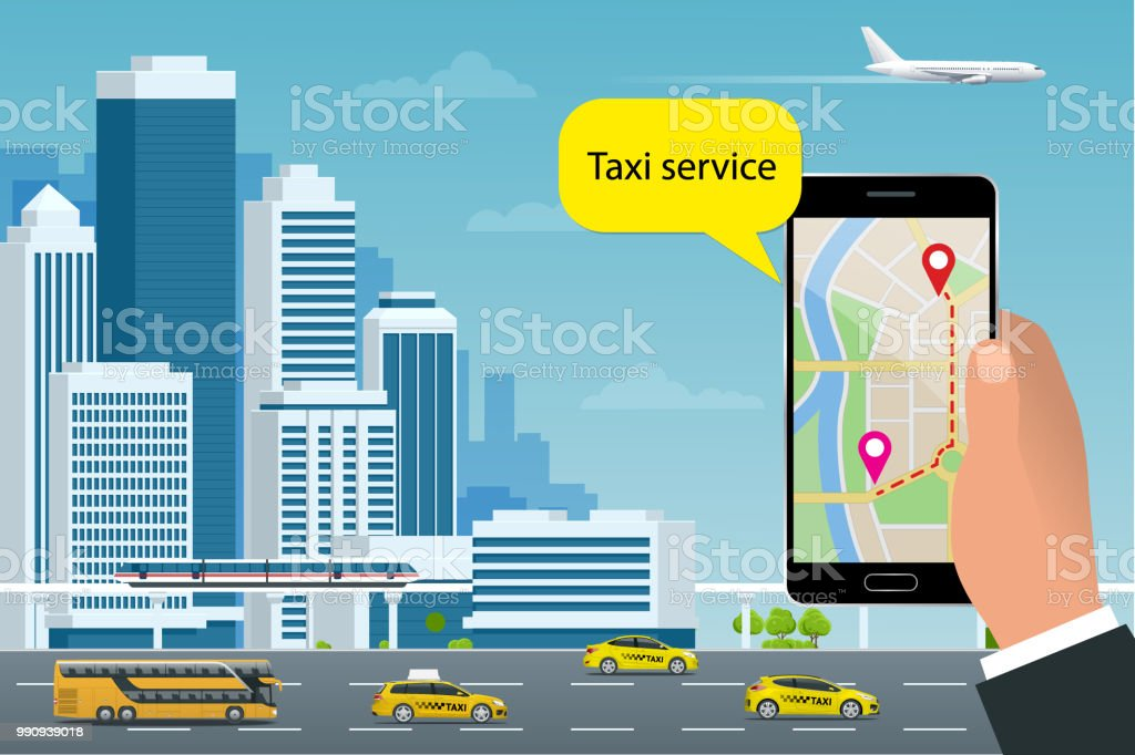 Concept De Taxi Service En Ligne Lhomme Commande Un A Son