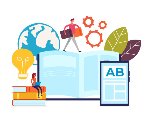 Online-Lehrpädagogisches Bildungskonzept. Vektor-Grafik-Design flache Cartoon-Illustration – Vektorgrafik