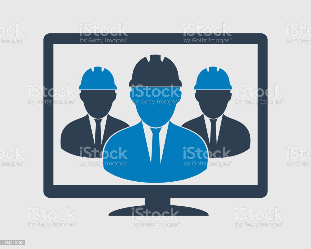 Online Technical Support Team Icon Male Symbols On Computer Monitor