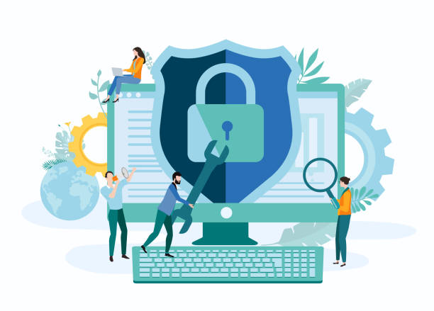 Online technologies, IT and internet security. Landing page template with people and computer. Online technologies, IT and internet security. Landing page or presentation template with people and computer. Vector background, flat style. security stock illustrations