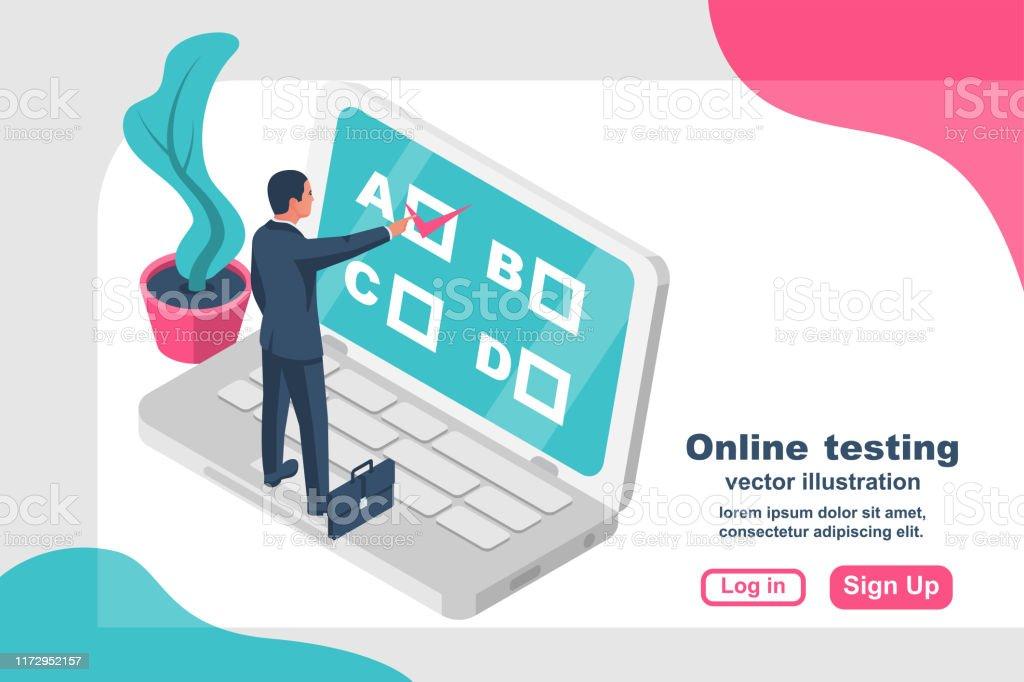 Online Test Miniature Businessman Standing On Big Laptop Stock Illustration Download Image Now Istock