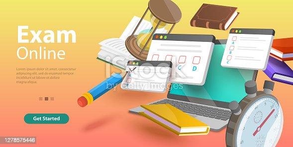 istock Online Testing, Questionnaire Form, Internet Quiz or Survey, Distant Education. 1278575446
