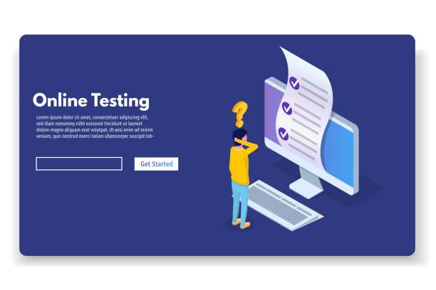 illustrazioni stock, clip art, cartoni animati e icone di tendenza di online testing,e-learning, education isometric concept. vector illustration. - test