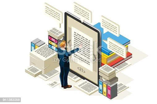 Textbook to publish online electronic paper, isometric people reading textbook, vector isometric design, vector illustration.