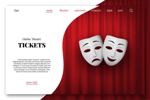 illustrations, cliparts, dessins animés et icônes de modèle de page d'atterrissage vecteur de billets de théâtre en ligne. comédie et tragédie masque théâtral isolé sur un fond de rideau rouge. - theatre