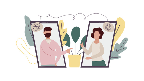 Online Therapist Consultation Cartoon People On Video Call On Phone Screens Stock Illustration Download Image Now Istock