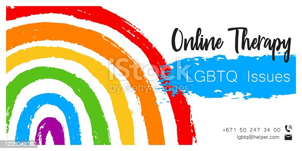 Online Therapy for LGBT society template poster with hand draw rainbow flag. Support vector background. LGBTQ issues. Illustration for banner