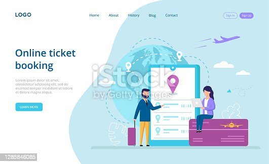 istock Online Ticket Booking Concept Vector Illustration On Blue And White Background. Composition In Flat Cartoon Style With Writings. People Near Big Smartphone With Navigator On Screen Buy Tickets Online 1285846085