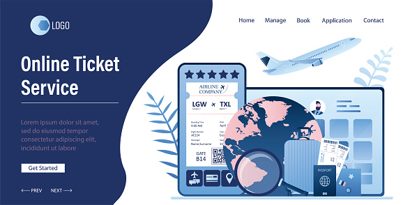 Online Ticket service landing page template. Mobile gadgets with travel applications.