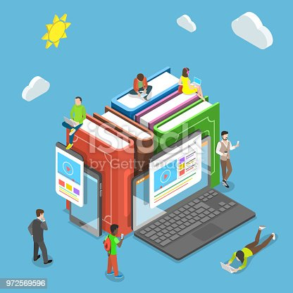 Flat isometric vector concept of online education, e-learning, webinar, training.