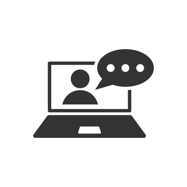 ilustrações de stock, clip art, desenhos animados e ícones de online training process icon in flat style. webinar seminar vector illustration on white isolated background. e-learning business concept. - webinar