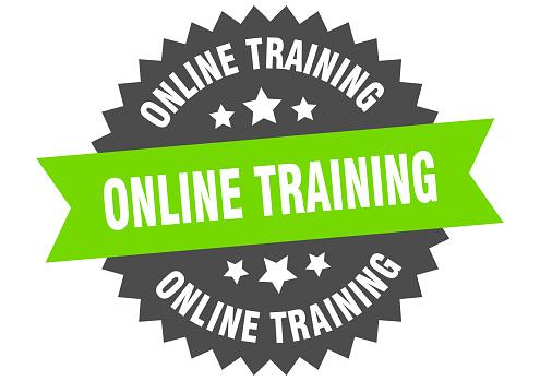 online training sign. online training green-black circular band label