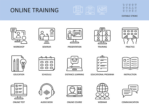 Online training vector icons. Set with editable stroke. Workshop practice guide instruction. Calendar schedule education seminar presentation test communication webinar course audio book