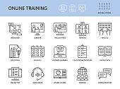 istock Online training vector icons. Set with editable stroke. Workshop practice guide instruction. Calendar schedule education seminar presentation test communication webinar course audio book 1251486874