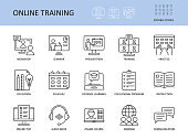 istock Online training vector icons. Set with editable stroke. Workshop practice guide instruction. Calendar schedule education seminar presentation test communication webinar course audio book 1251486874