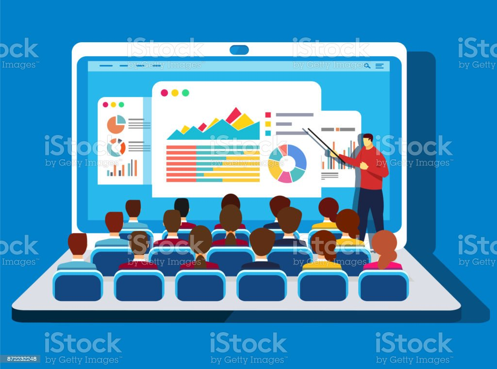 Online training vector art illustration