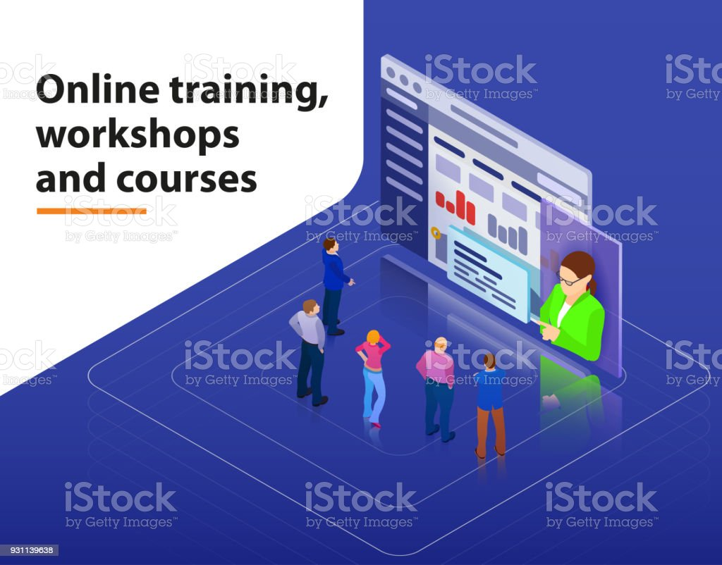 Online training, workshops and courses visualization flat 3d web isometric infographic concept vector template. vector art illustration
