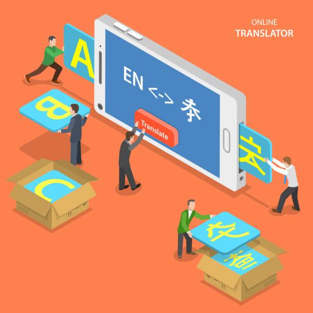 Online Traductor isométrica vector concepto de pantalla plana. - ilustración de arte vectorial