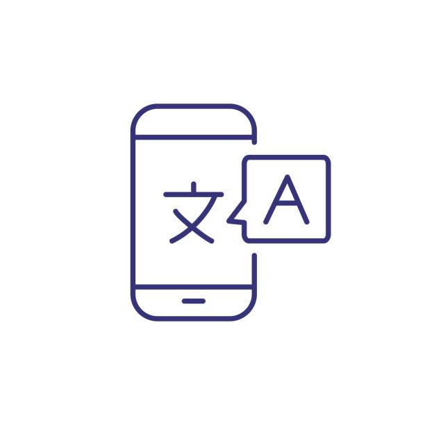 Icono de línea de Traductor en línea - ilustración de arte vectorial