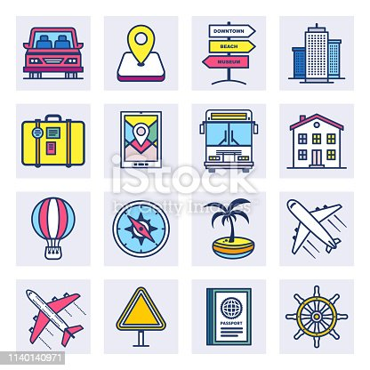 Online travel agencies outline style concept with symbols. Flat line vector icons set for infographics, mobile and web designs.