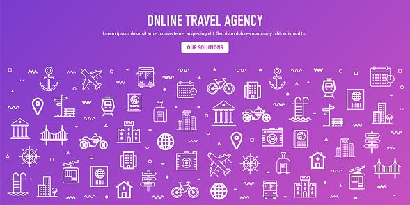 Online Travel Agency Outline Style Web Banner Design