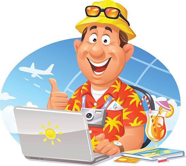 オンライン旅行のご予約 - 旅行代理店点のイラスト素材/クリップアート素材/マンガ素材/アイコン素材