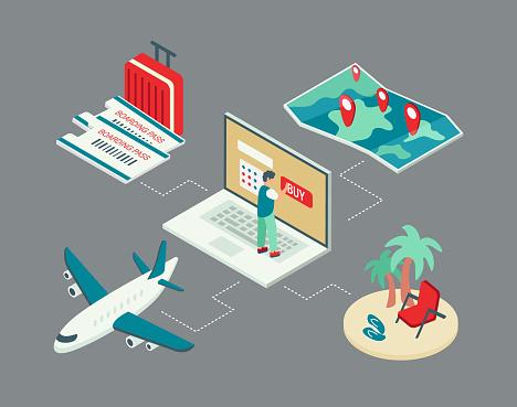 Online Travel Buying Tickets Isometric illustration