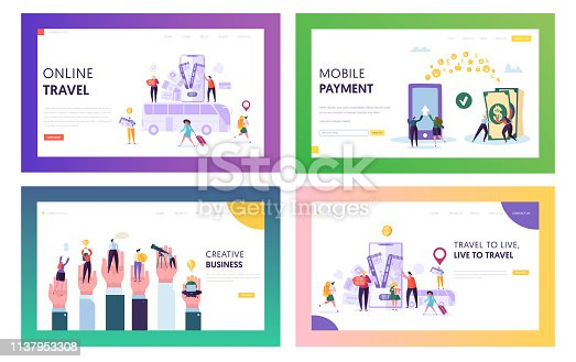 Online Travel Landing Page Set. Visit World in Smartphone. Make Mobile Payment, Buy Something over Internet and Develop Creative Business Website or Web Page. Flat Cartoon Vector Illustration