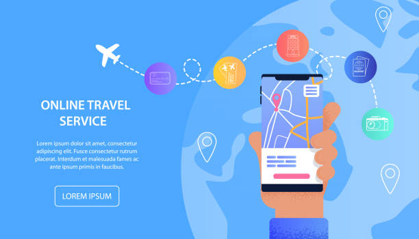 Online Travel Service Vacation Assistance Tourist Online Travel Service Vacation Assistance Tourist. Banner Vector Illustration Male Hand Holding Mobile Phone. Mobile Applications for Buying Airline Tickets, Visa, Hotel Booking, Check-In airport backgrounds stock illustrations