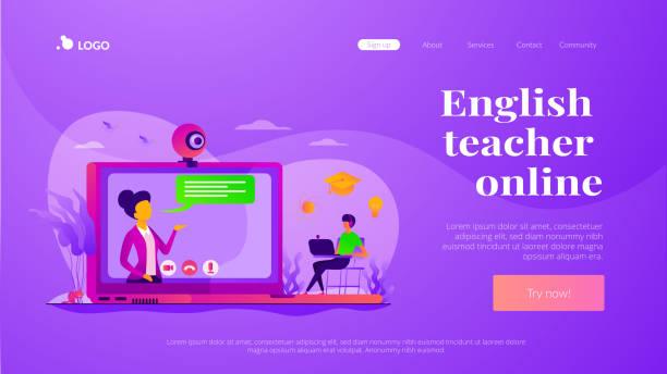 illustrazioni stock, clip art, cartoni animati e icone di tendenza di online tutor landing page template - didattica a distanza