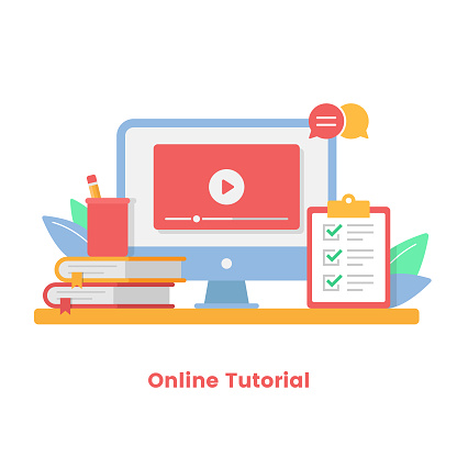 Online Tutorial Vector Illustration. Online Courses, Online Education and Video Tutorials Concepts Flat Design.
