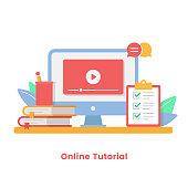 istock Online Tutorial Vector Illustration. Online Courses, Online Education and Video Tutorials Concepts Flat Design. 1245053820