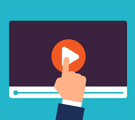 Online tutorials concept. Video training and education. Study and learning vector background. Illustration of video online, education webinar