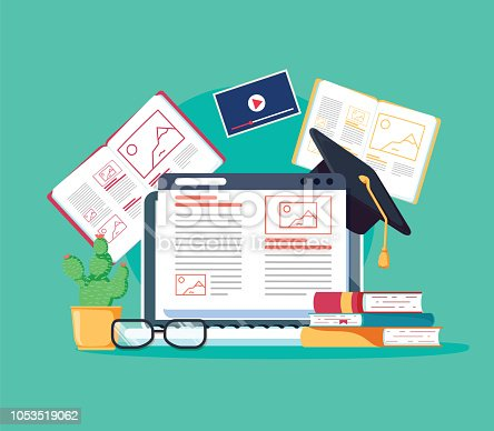 Online tutoring concept. E-books, internet courses process. Vector illustration. Staff education, consulting college or education app. Modern concepts for website or advertising. Remote university