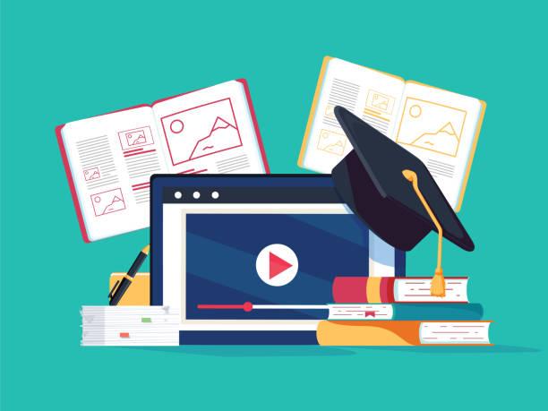 ilustraciones, imágenes clip art, dibujos animados e iconos de stock de concepto de tutoría en línea. e-books, internet cursos proceso. ilustración de vector. equipo de estudio con los libros - training